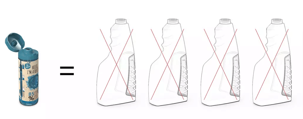 85 percent less plastic used